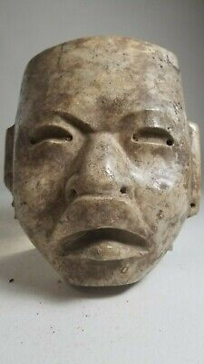 "Huge Pre-Columbian Stone Olmec  Mask Eight Pounds 9"" High"