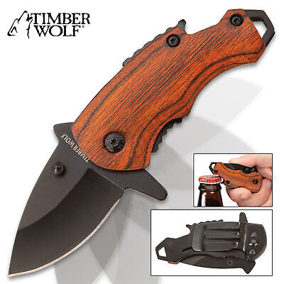 Timber Wolf MINI Money Clip Folding Pocket Knife Spring Assisted Open EDC Wood