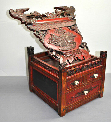 LARGE ANTIQUE Carved 18th Century Asian Handmade Box Red Lacquer CARVED