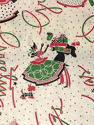 Vtg Christmas Wrapping Paper Gift Wrap 1940 Ww2 Greetings Victorian Theme Nos
