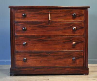 Attractive Large Antique Victorian Mahogany Chest Of Four 4 Drawers