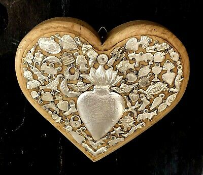 Natural Thick WOOD MILAGROS HEART Ex Voto Sacred Heart Mexican Folk Art