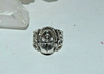 Vtg Solid Sterling Silver Scarab Egyptian Revival Ring sz 6