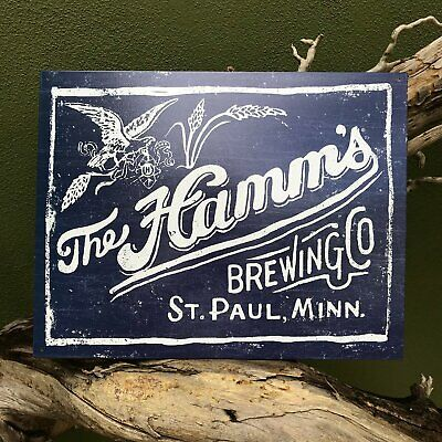 Hamm's Brewing Co Retro Metal Beer Sign Tin Tacker Vintage Look