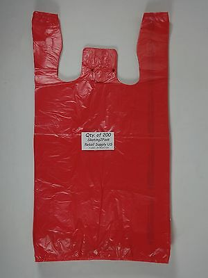 """200 Qty. Red Plastic T-Shirt Retail Shopping Bags with Handles 11.5"""" x 6"""" x21"""""""