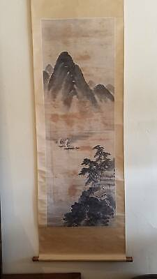 Antique Chinese Watercolor  Landscape in the style of Lu Bin, Late 19th Century