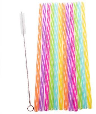New Appetito Reusable Rainbow Party Straws Pack of 24 - Including Brush