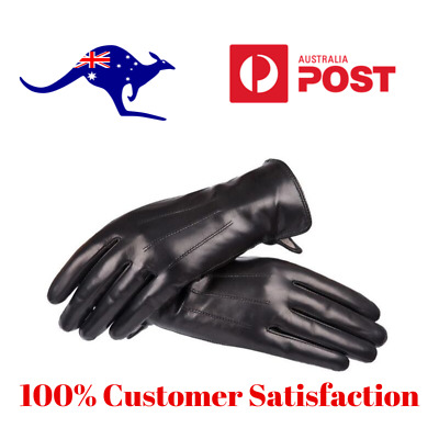 Lady Women's Winter Warm Genuine Black Sheep Skin Leather Driving Soft Gloves