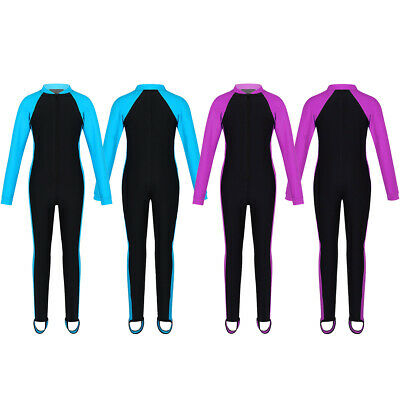 Girls Kids Long Sleeve Swimsuit Swimwear Zipper Up Rash Guard Bath Surfing Suit