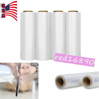 "US 18"" x 1500' 80 Gauge 4 Rolls Pallet Wrap Stretch Film Hand Shrink Wrap 1500FT"