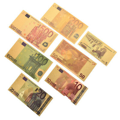 7X Euro Banknote Gold Foil Paper Money Crafts Collection Bank Note Currency CPUV