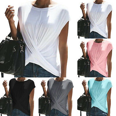 Womens Short Sleeve Wrap T-Shirts Tops Summer Casual Blouse Tee Shirt Plus Size