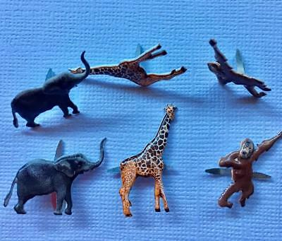 BRADS JUNGLE ANIMALS pk of 6 split pin craft zoo giraffe elephant monkey