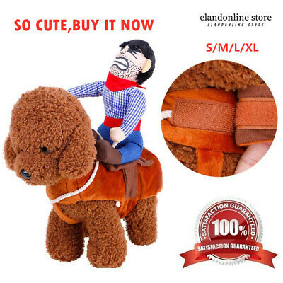 Fake Rider Cowboy Pets Dog Costumes Puppy Outdoor Funny Riding Vest Clothing US