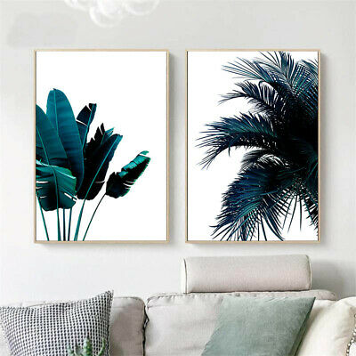 Blue Banana Palm Tree Leaf Poster Abstract Nordic Art Print Botanical Picture