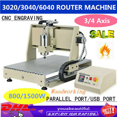 CNC 3020/3040/6040 Router Engraving Milling Machine Engraver 3/4 Axis 800/1500W