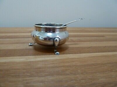 Sterling Silver Mustard Condiments pot and spoon 31g