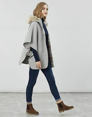 Joules Womens Everly Reversible Cape in GREYCHECK