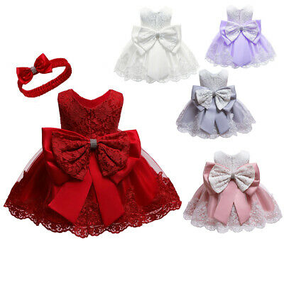 UK Christmas Newborn Baby Girl Lace Ball Gown Dress Birthday Xmas Party Costumes