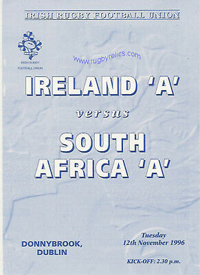 IRELAND A v SOUTH AFRICA A 1996 RUGBY PROGRAMME