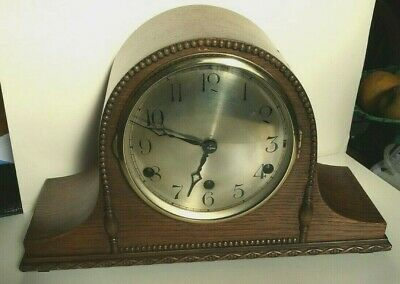 1940s Napolean Hat Style Oak Westminster 1/4 Chime Mantel Clock