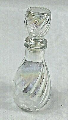 Perfume Bottle, Cute Swirled Translucent Glass with Glass & Rubber Stopper