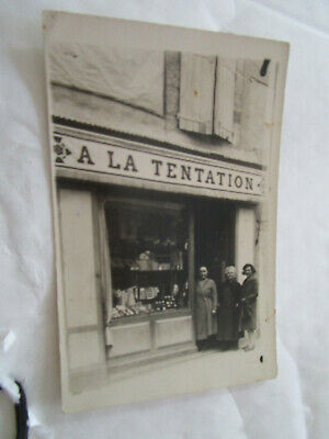 cpa carte photo montagnac magasin a la tentation