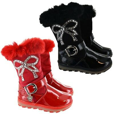 Girls Winter Mid Calf Warm Faux Fur Buckle Comfy Boots Childrens Kids Shoes Size