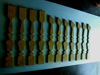 Antique Vtg Faux Marble Wood Stair Balustrades Balusters Architectural Salvage
