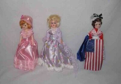 Lot Of Three Vintage AMERICAN HERITAGE Dolls Sleep Eyes Betsy Ross Dolly Madison