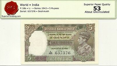 INDIA RESERVE BANK 5 RUPEES 1943 ISSUE ~ P-18b ~ KING GEORGE VI ~ NICE ABOUT UNC