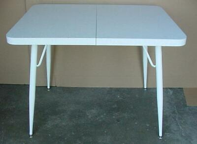 Vintage Mid Century Modern Formica Kitchen Table White With Gold Speckles