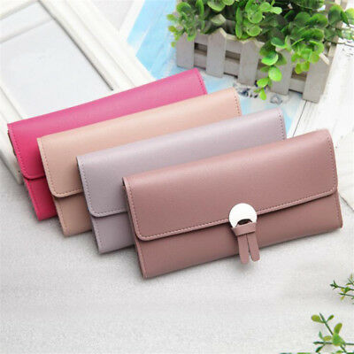 Women Faux Leather Clutch Wallet Long Card Holder Zipper Purse Handbag Bag  JO