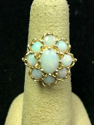 Beautiful Vintage Natural Opal Cluster 14kt. Yellow Gold Ladies Ring size 6