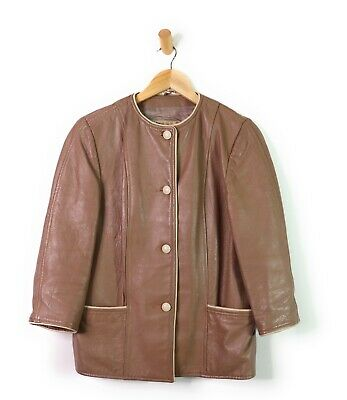 Vtg Cresco Brown Cream Women's Collarless Leather Jacket Tan Hipster 70s 80s, 10