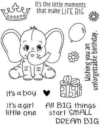 Baby Elephant with Balloon - Stamp and Die Set - AUSTRALIAN STOCK