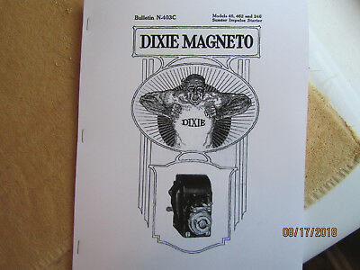 1919 Splitdorf Dixie 46 462 246 Mag Instruction/parts Manual Waterloo Tractor