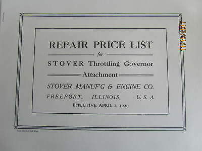 1920 Stover Manuf'g & Gas Engine Repair Parts List for Throttling Gov. attach.