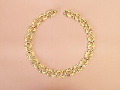 """Vintage Necklace gold metal ring links 18"""" L collar chain Costume Jewelry"""