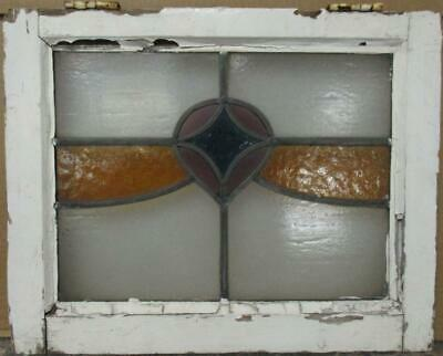 "OLD ENGLISH LEADED STAINED GLASS WINDOW Gorgeous Sweep Design 21"" x 16.75"""