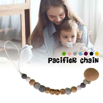 Baby Infants Pacifier Chain Holder Chewing Toy Pacifier Clip Wooden Soother Bead