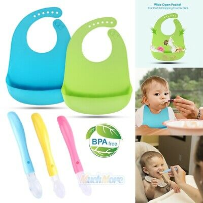 2PCS 100% Food-graded Silicone Soft Baby Bibs+3PCS Teething Friendly Baby Spoons