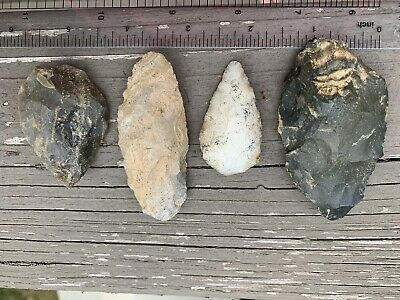 TN Tennessee arrowheads knife point tool artifacts lot of 4
