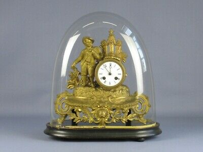 Antique Watch Pendulum Parisian Golden with Bell Glass XIX Century