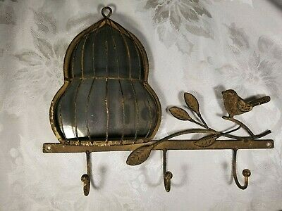 Antique Victorian Cast Iron Wall Hanging Mirror Birdcage Hooks Architectural