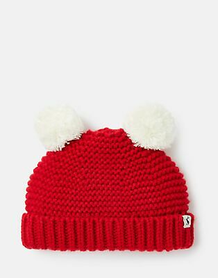 Joules 207300 Knitted Double Pom Hat in RED ROBIN