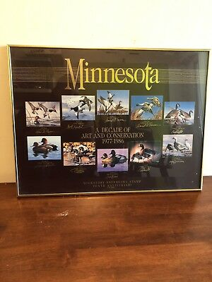 Minnesota Migratory Waterfowl Stamp 10th Anniversary Poster Signed By Artists