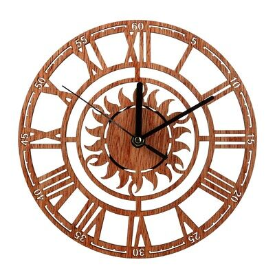 2X(Vintage Wooden Wall Clock Shabby Chic Rustic Kitchen Home Antique Watche F5E6