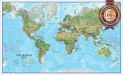 The World Environmental Geography Atlas Map Rounded View Print Premium Poster