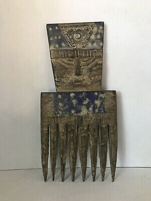 """Vintage Aged wood hand crafted brass inlay small african art wall art rustic 9"""""""